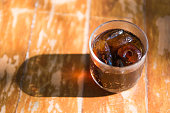 soft drink on the wooden table