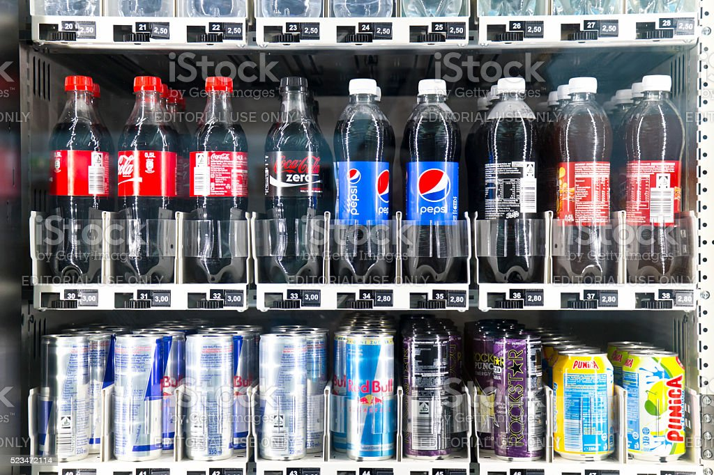 Soft Drinks in a Vending Machine stock photo