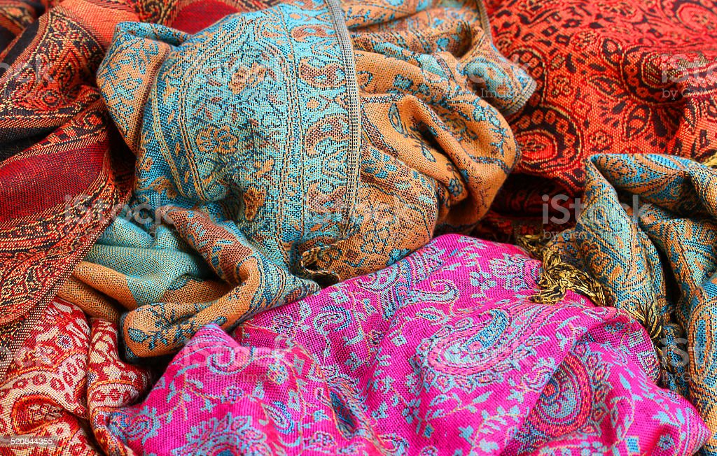 soft fabric for ethnic scarves for sale stock photo