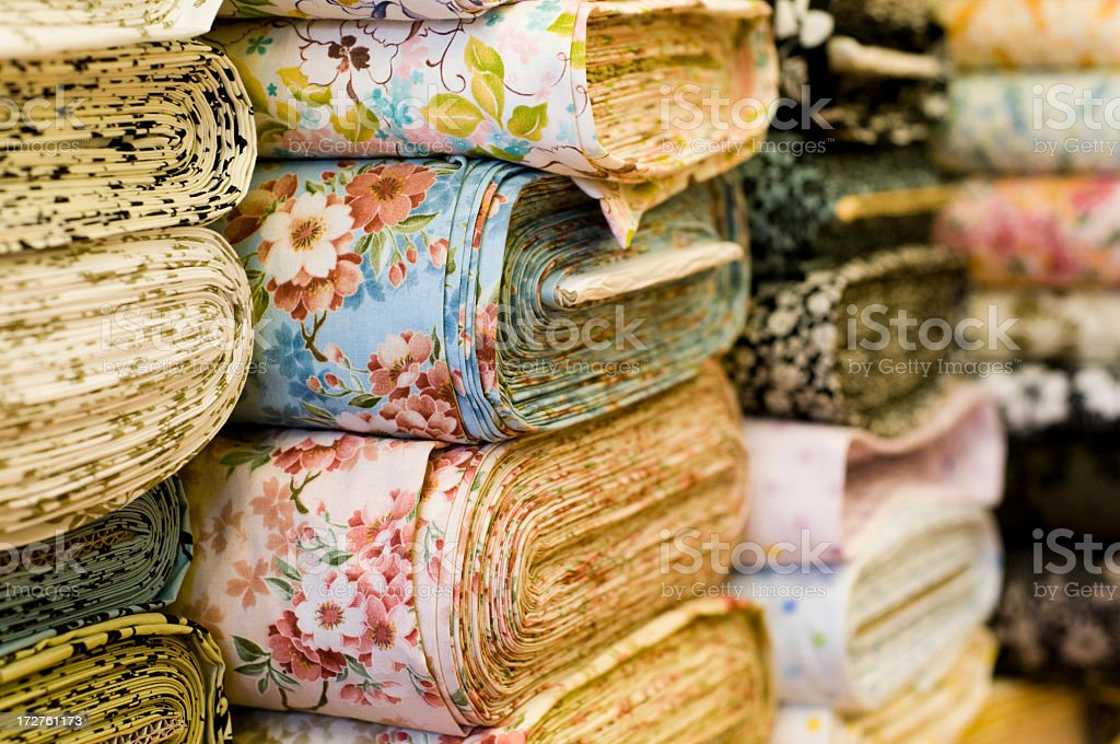 Soft Fabrics in a Shop stock photo