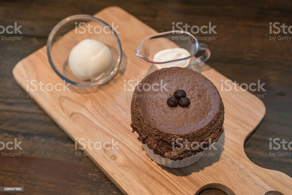 soft focus of chocolate souffle stock photo