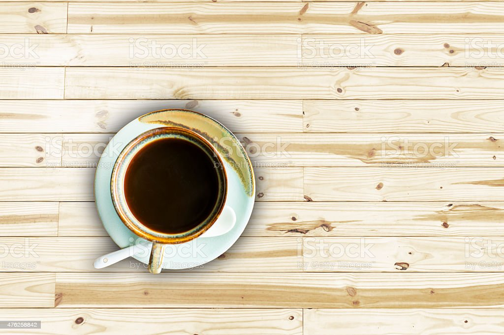 Soft focus on coffee.  wooden background royalty-free stock photo