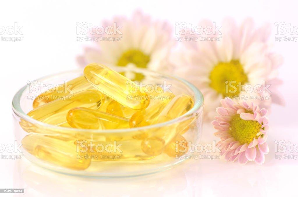 Soft gelatin capsules of dietary supplement. stock photo