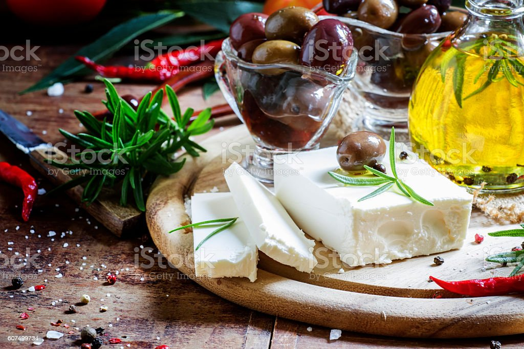 Soft greek feta cheese with rosemary stock photo