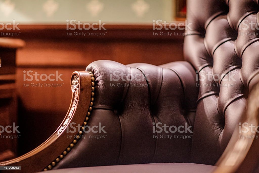 Soft leather chair stock photo