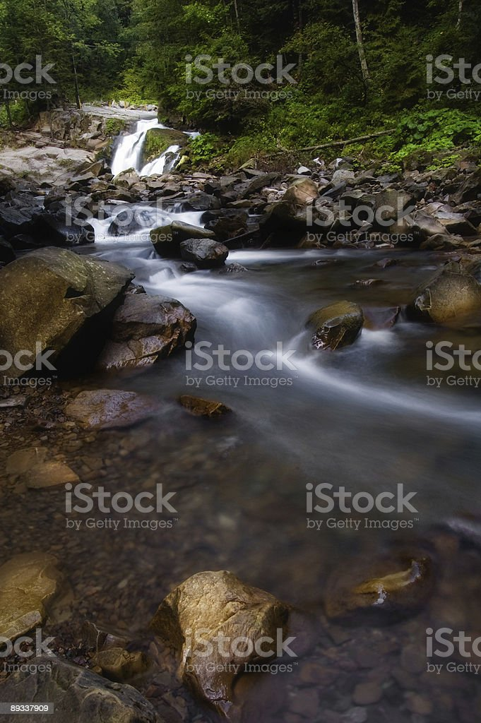 Soft little peaceful cascade of waterfalls royalty-free stock photo