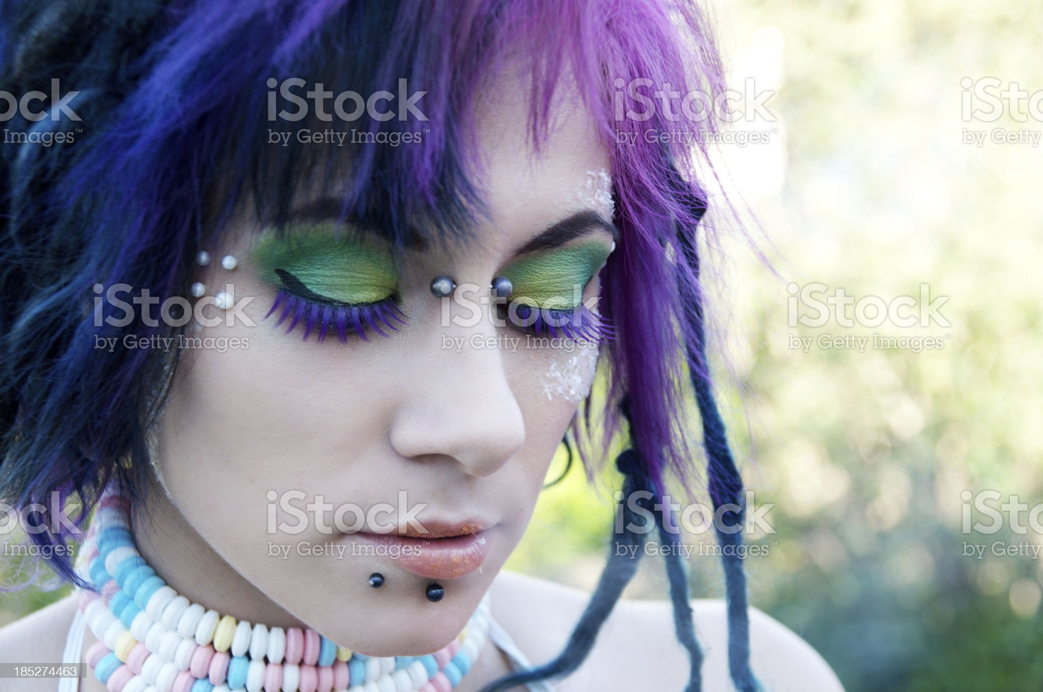 Soft outdoor shot of colourful woman. royalty-free stock photo