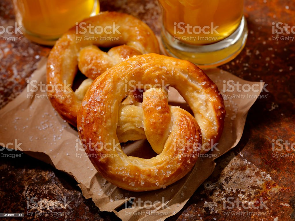 Soft Pretzels and Beer stock photo