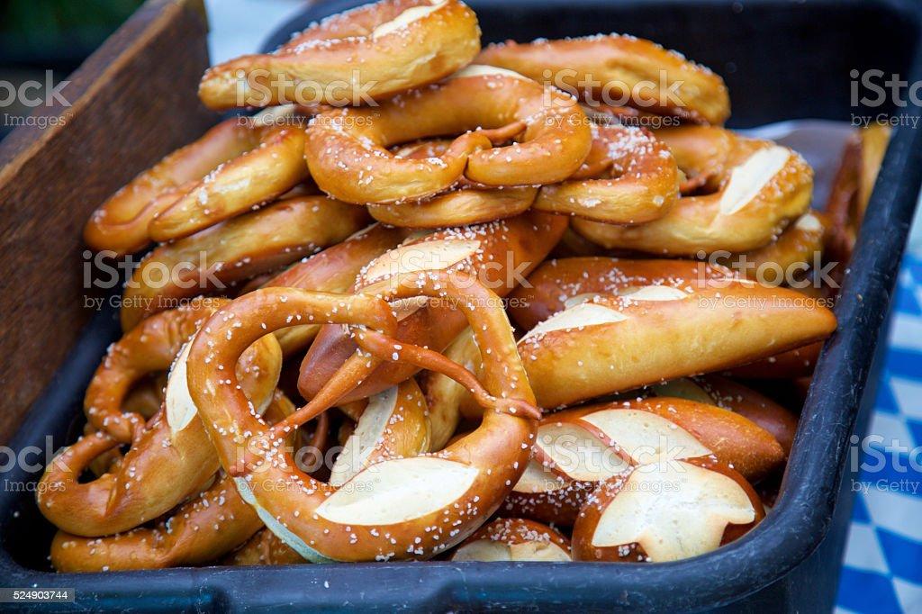 soft pretzels and pretzel bread stock photo