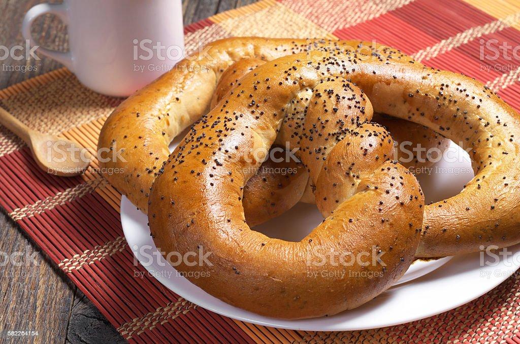 Soft pretzels with coffee stock photo