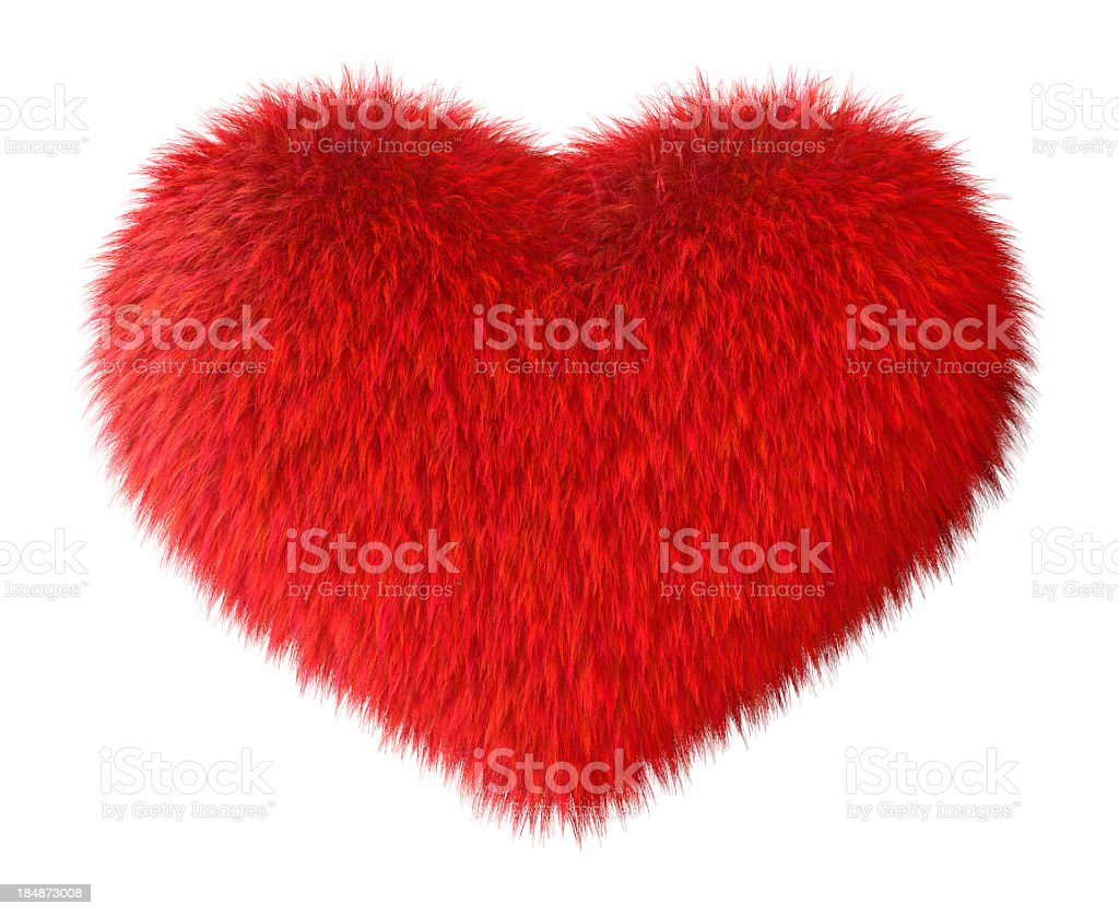 Soft red furry heart on white backdrop stock photo