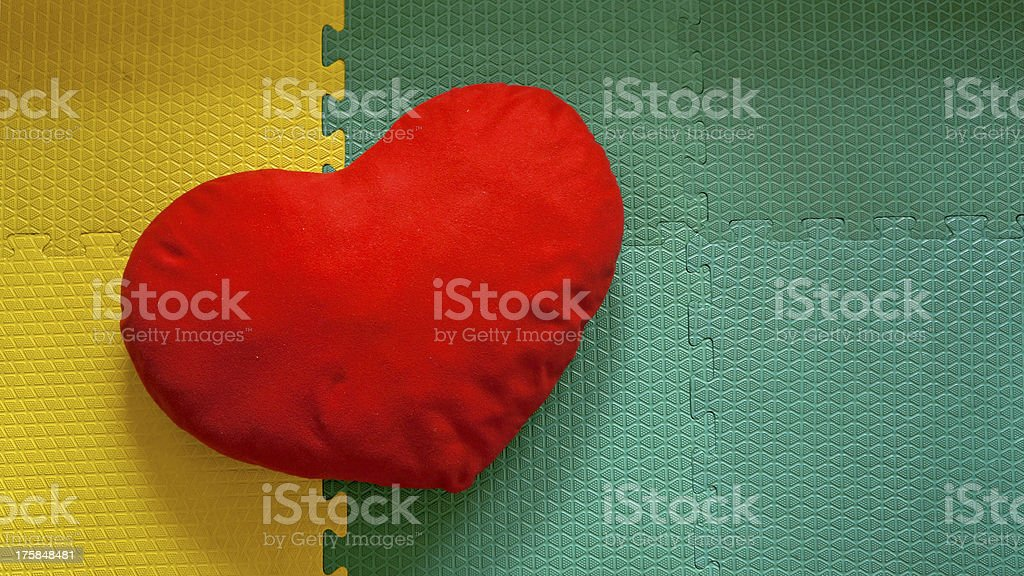 Soft red heart pillow royalty-free stock photo