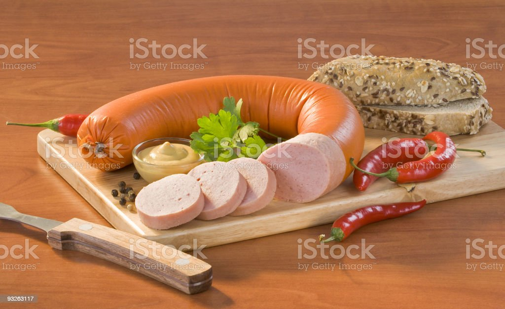 Soft salami and roll royalty-free stock photo