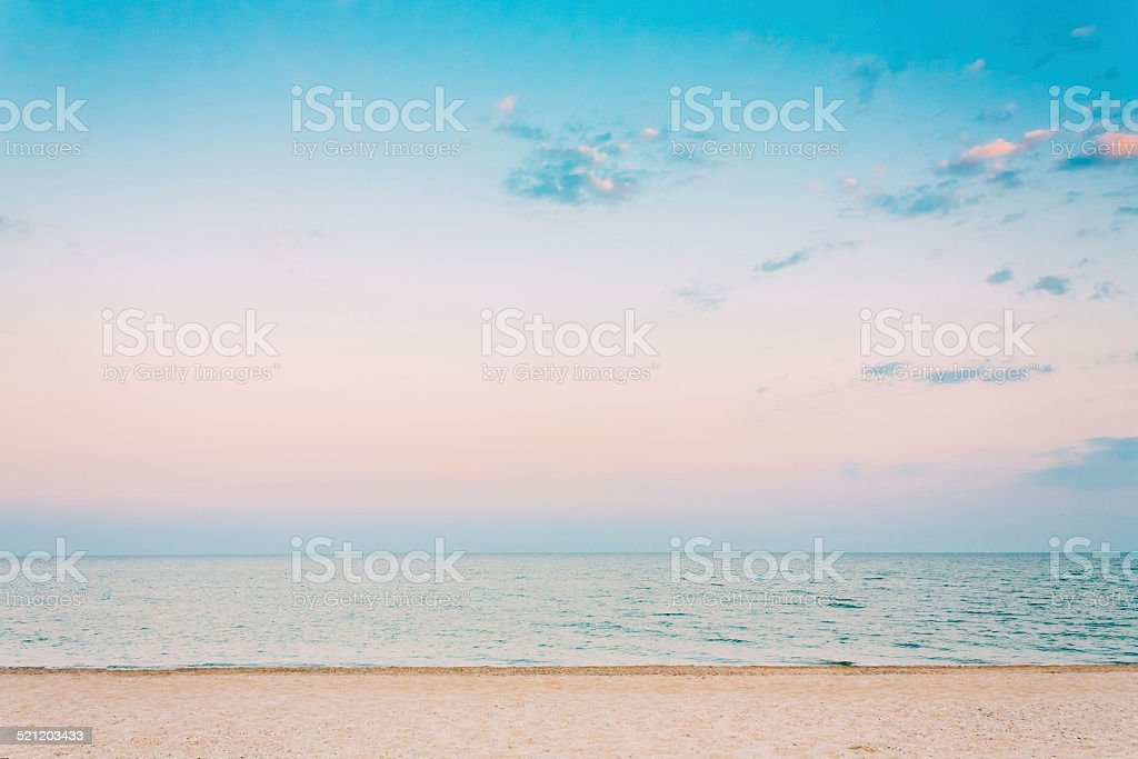 Soft Sea Ocean Waves Wash Over White Sand, Beach Background stock photo