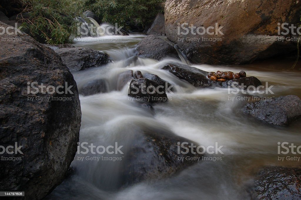 Soft stream of small water fall royalty-free stock photo