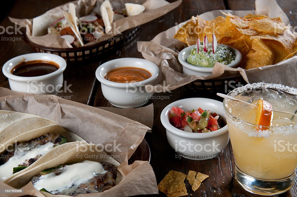 soft tacos, chips, and a margarita royalty-free stock photo