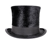 Soft textured black top hat with smooth black trimming