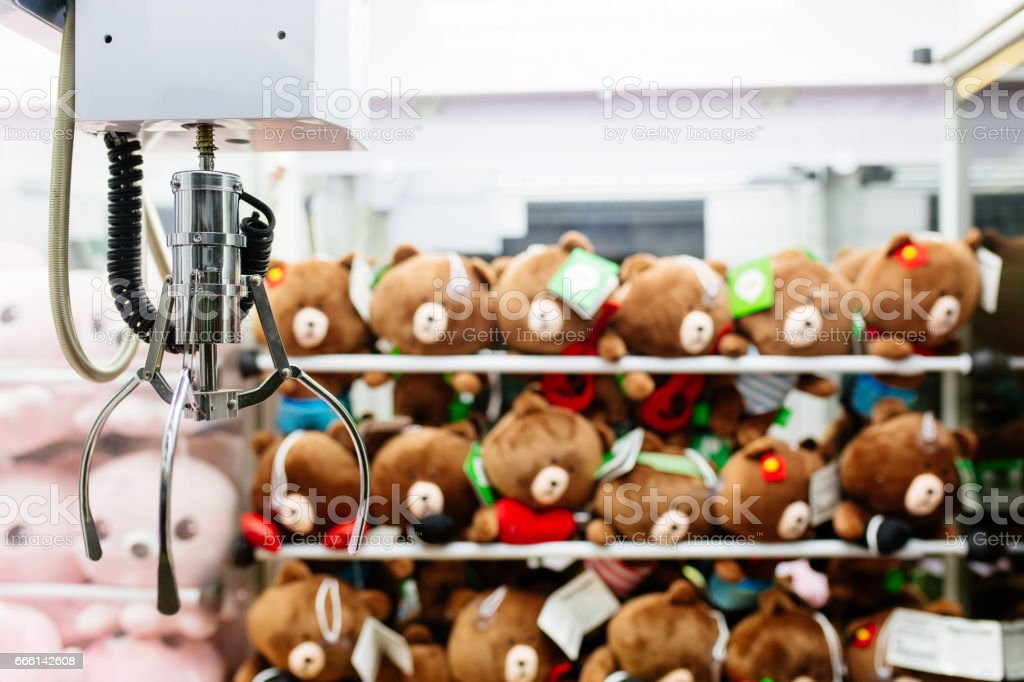 soft toy grabbing game stock photo