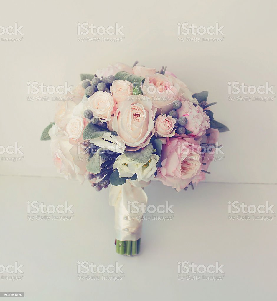 Soft vintage gentle wedding bouquet flowers, pastel colors photo stock photo