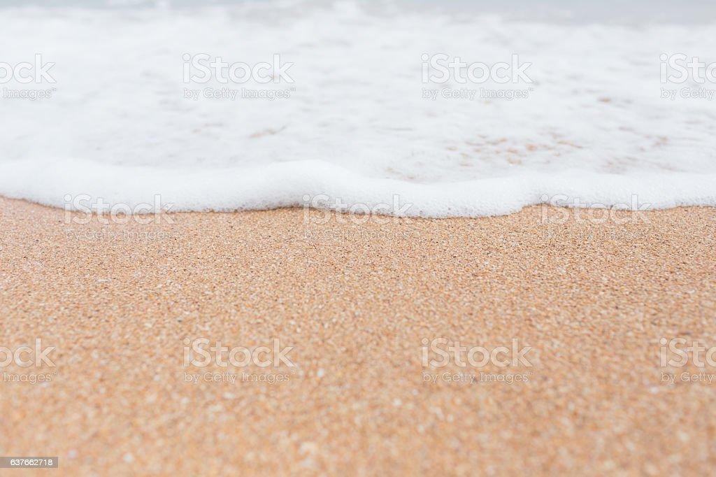 Soft Wave Of ocean on sandy beach stock photo
