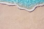 Soft wave of ocean on the sandy beach