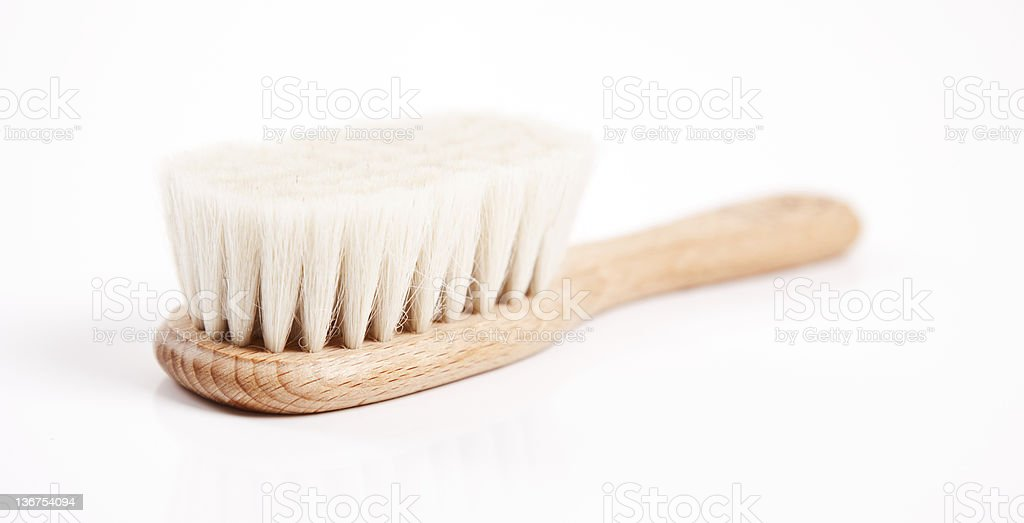 soft wooden hairbrush stock photo