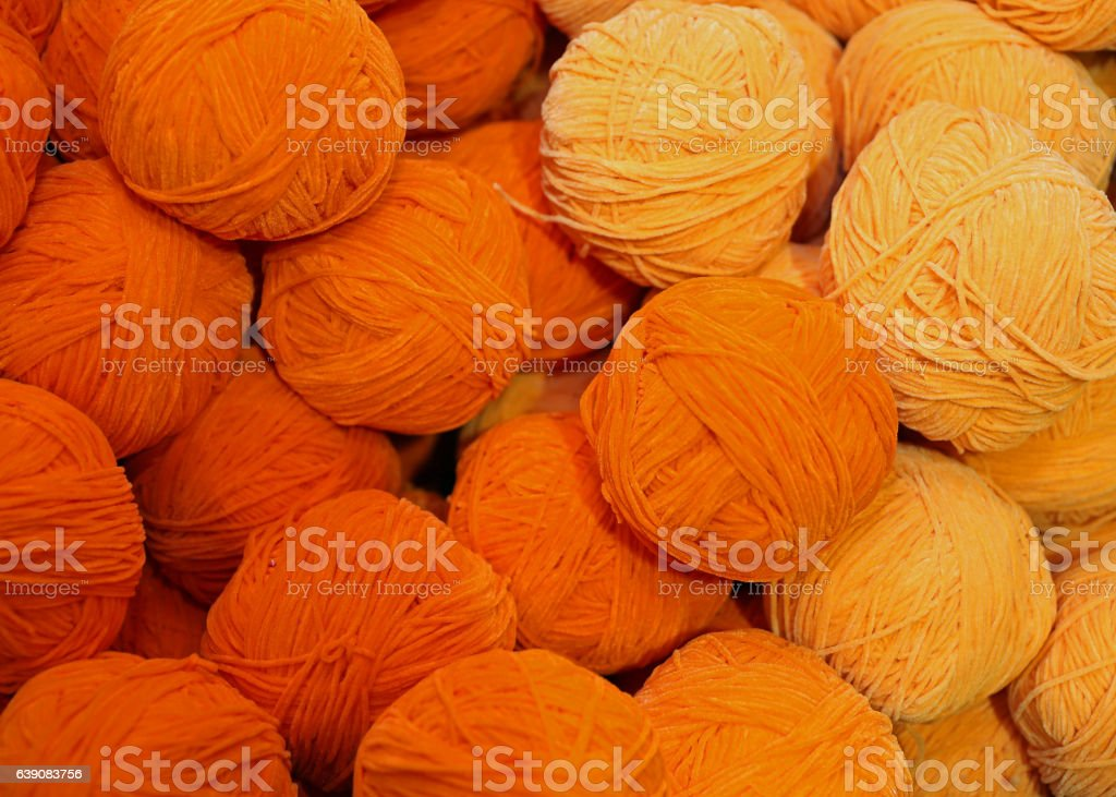 soft wool for sale balls in wool and fabric store stock photo