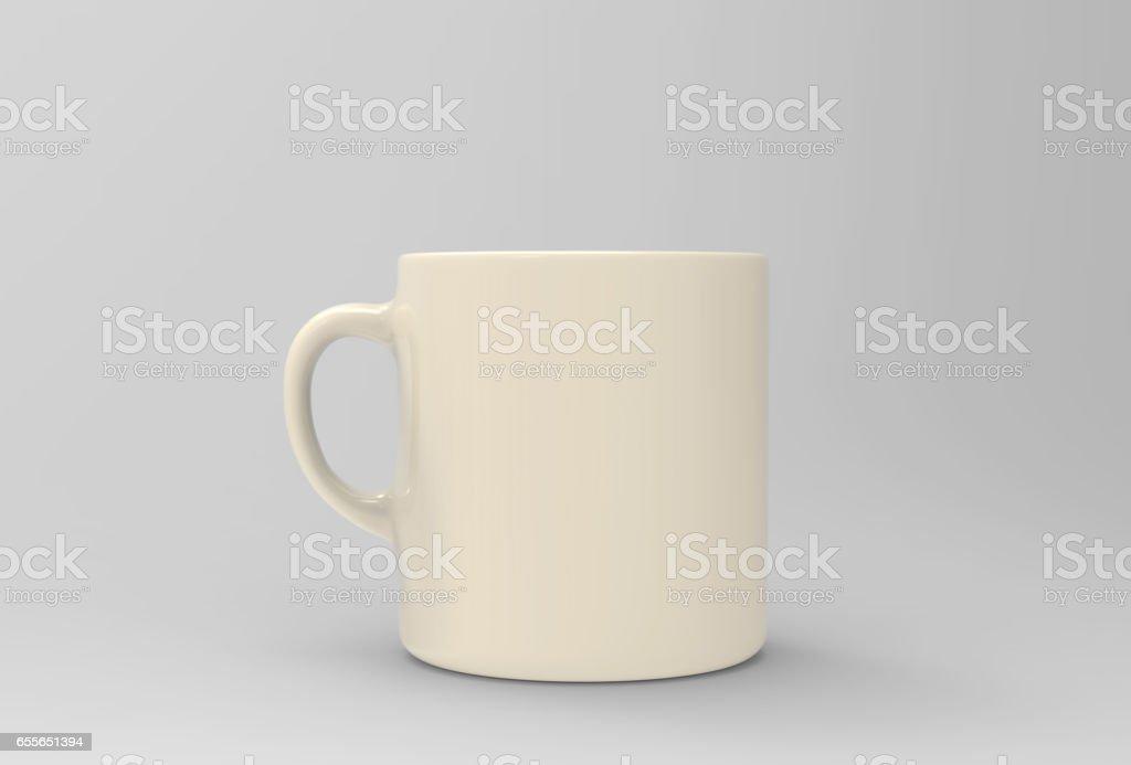 Soft yellow mug mock up on soft white background. 3D illustrated stock photo