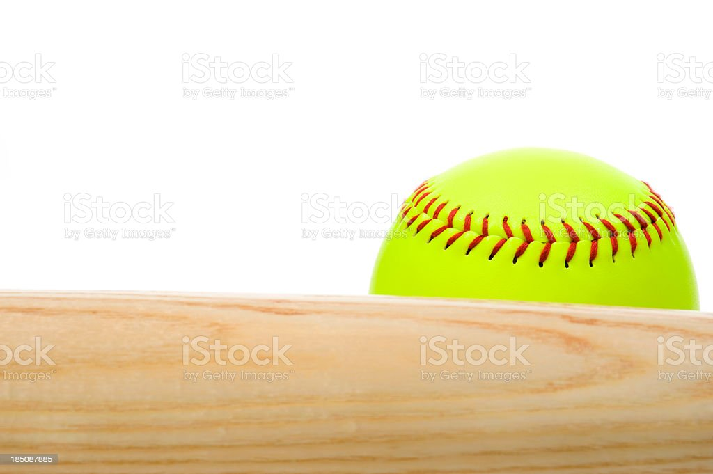 Softball and bat stock photo