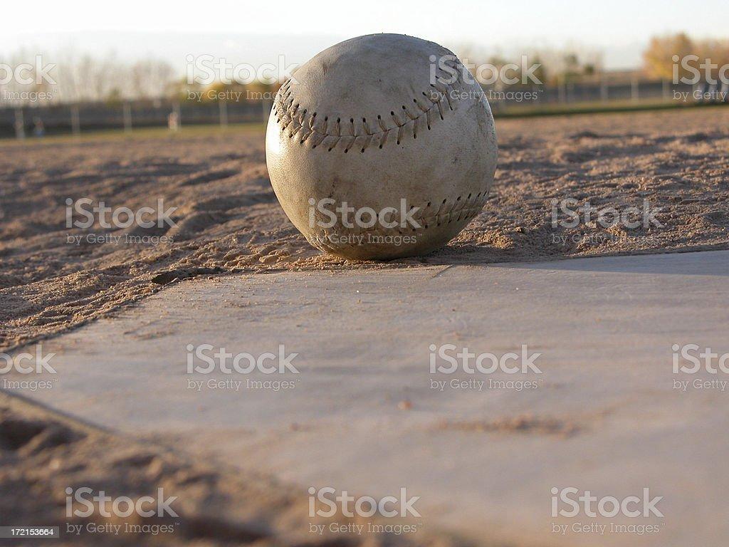 Softball and Homeplate stock photo