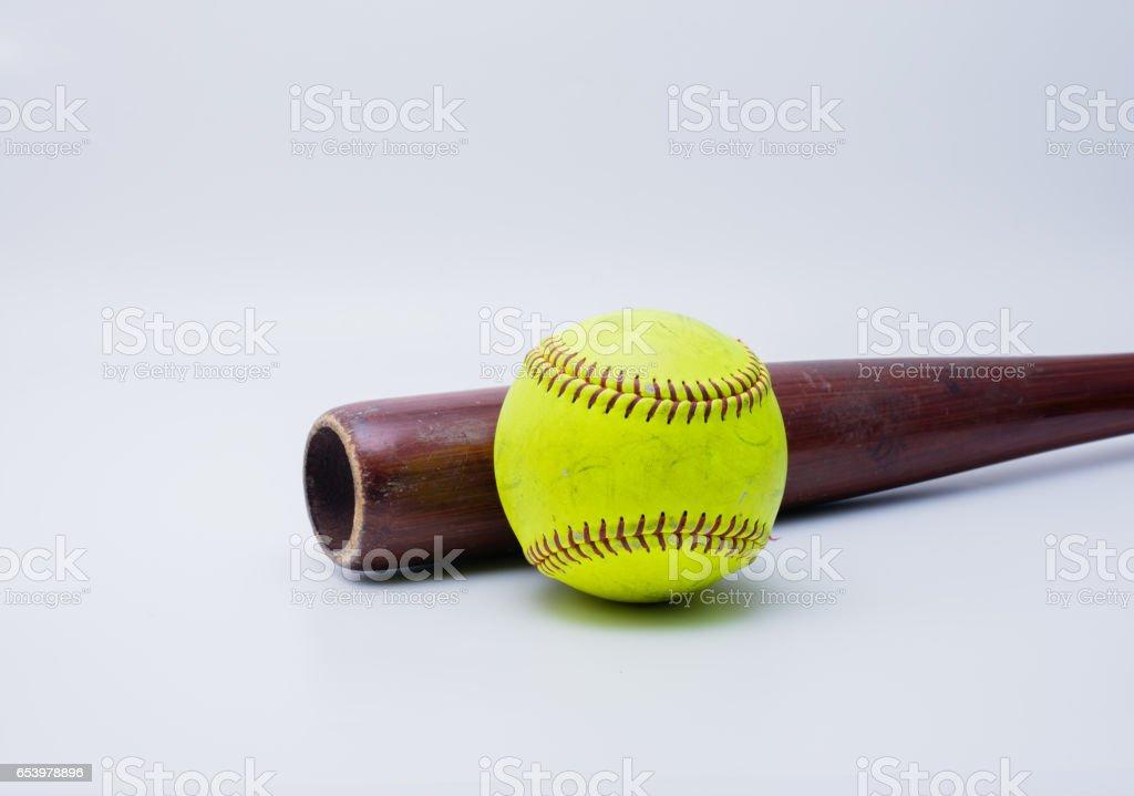 Softball and wood bat stock photo