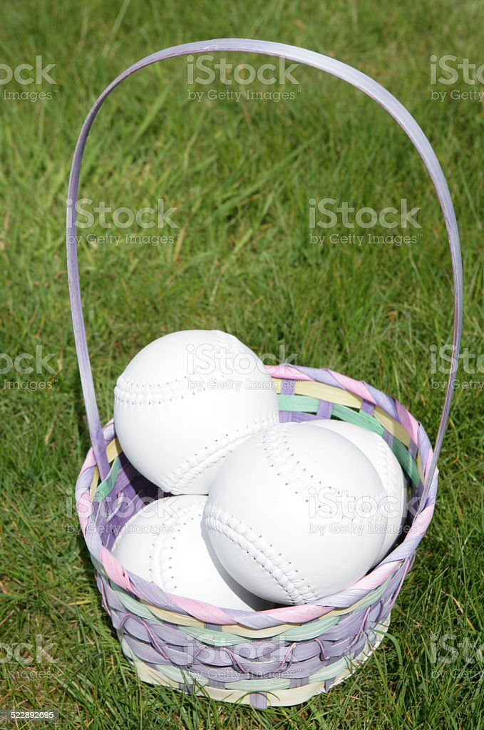 Softball balls in a easter basket on grass