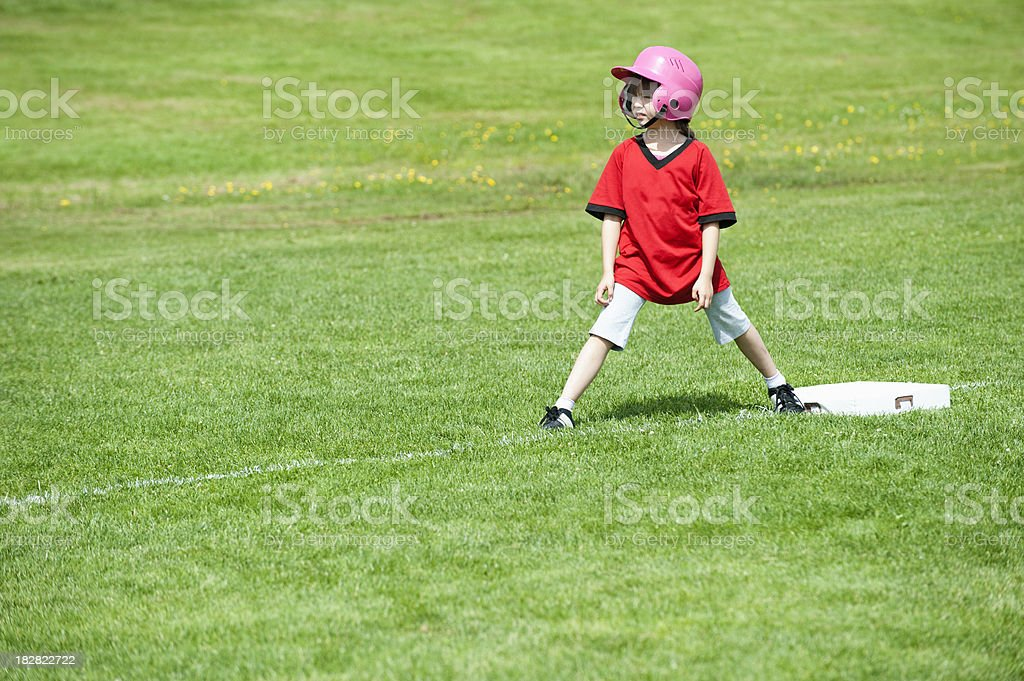 Softball Base Runner stock photo