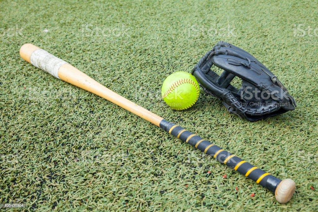 Softball equipment sports stock photo