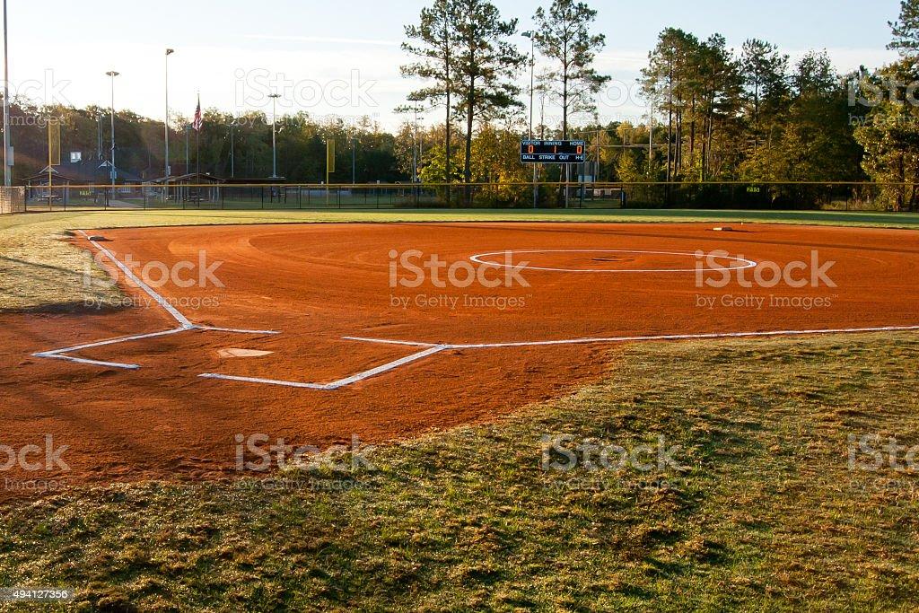 Softball Field at Dawn stock photo