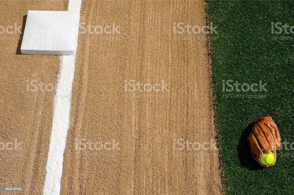 Softball - First base royalty-free stock photo