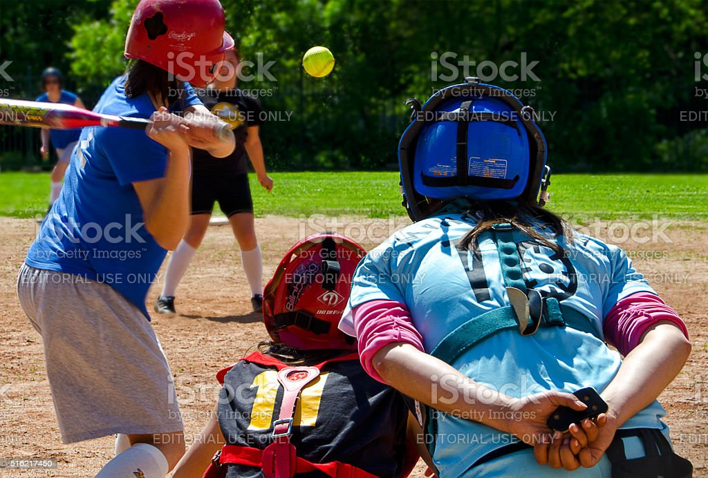 Sofia, Bulgaria, May 11, 2014. Ladies softball match. The field is...