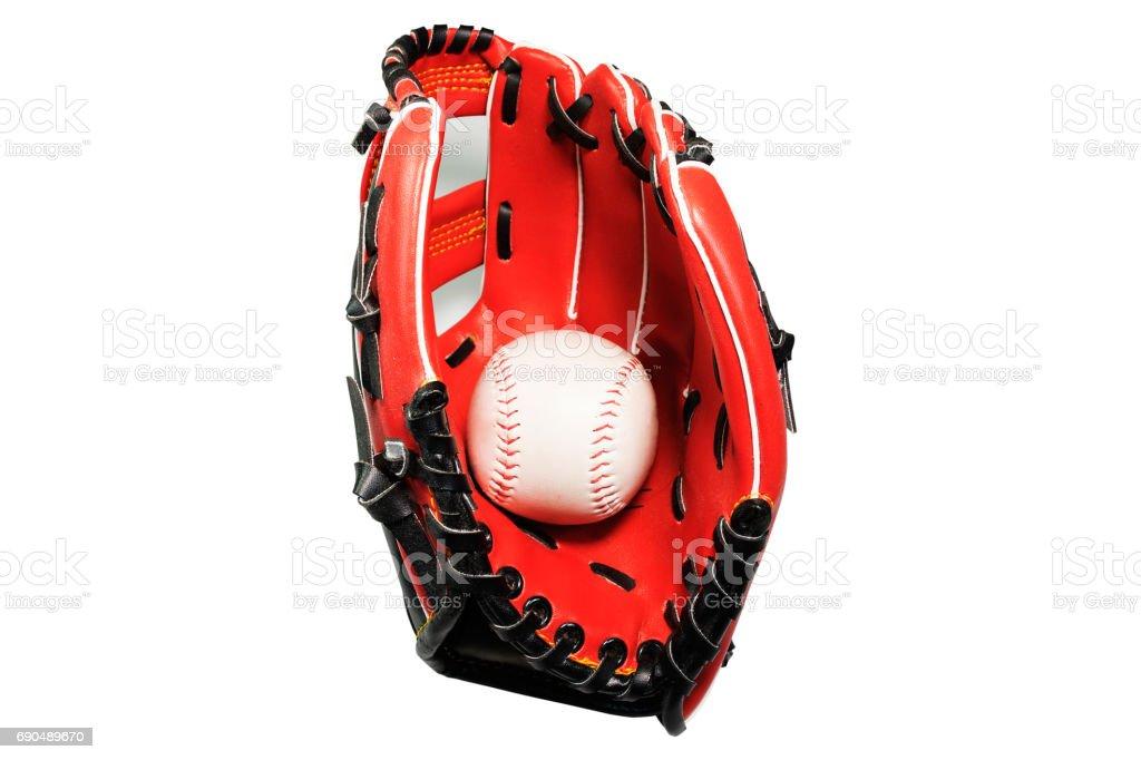 Softball Gloves on white background 0185 stock photo