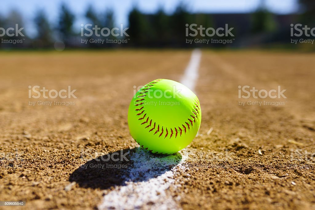 Softball in a softball field in California mountains stock photo
