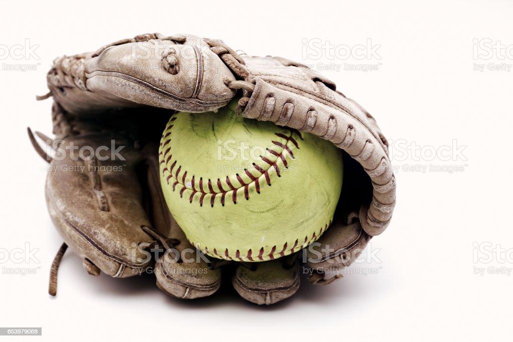 Softball in glove stock photo