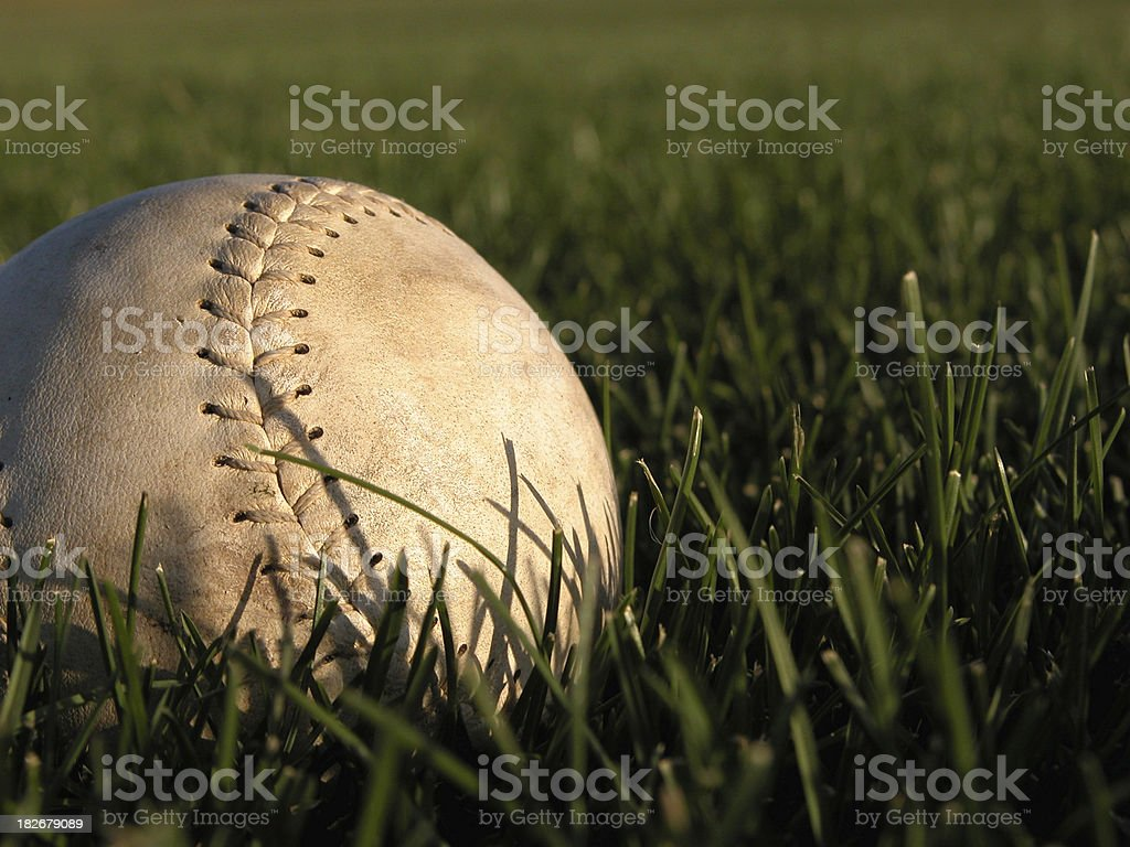 Softball in the outfield royalty-free stock photo