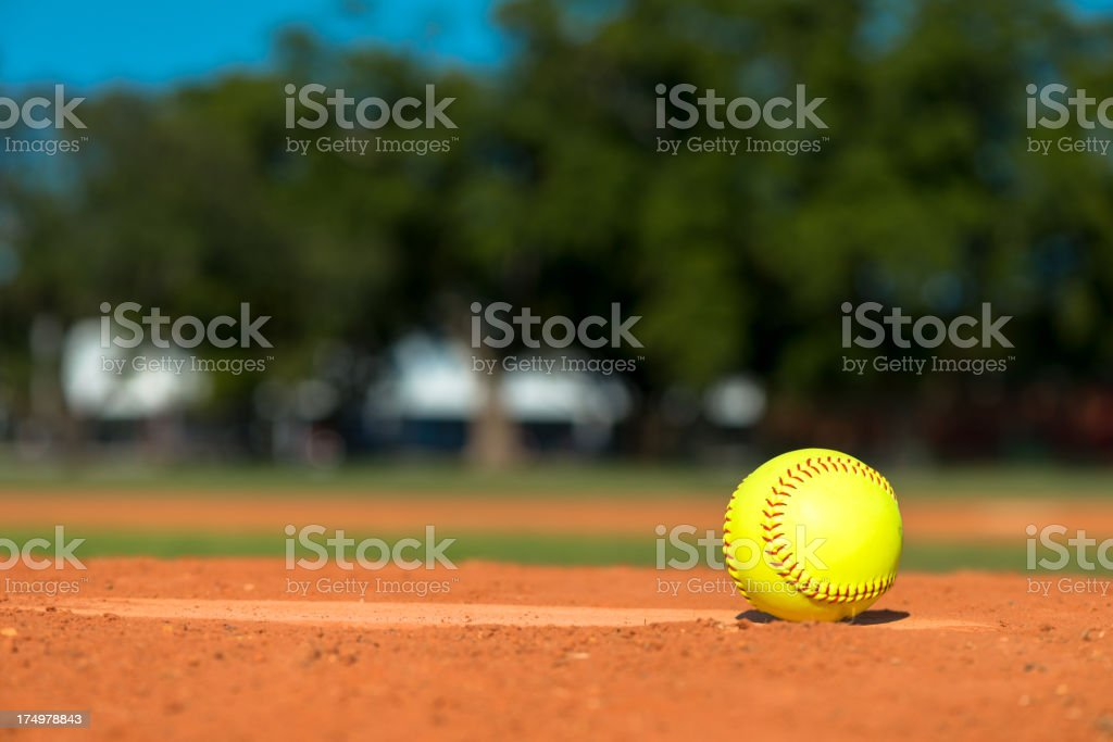Softball on Baseball Diamond stock photo