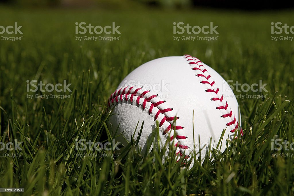 Softball on Grass royalty-free stock photo