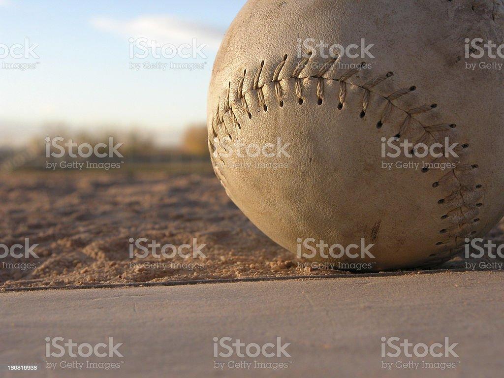Softball on Homeplate Detailed stock photo