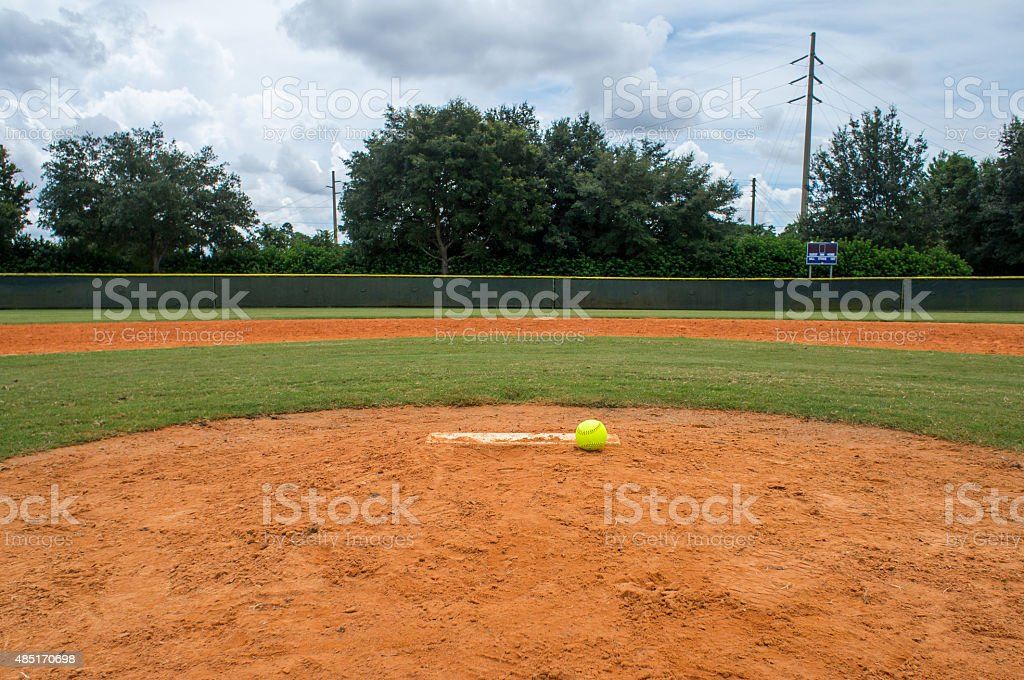 Softball on Pitchers mound stock photo