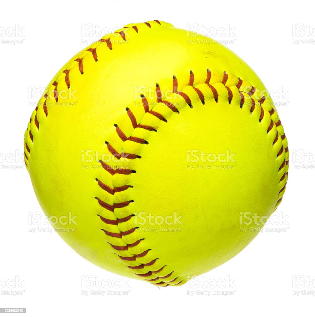 Softball on white stock photo