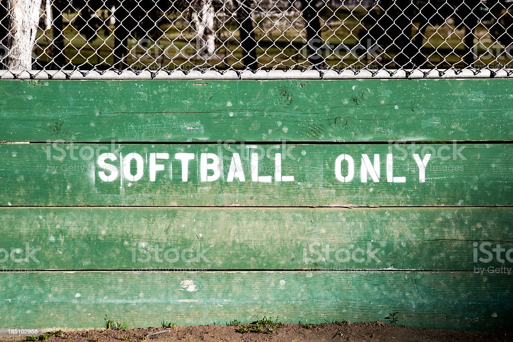 Softball Only Painted on a Fence stock photo