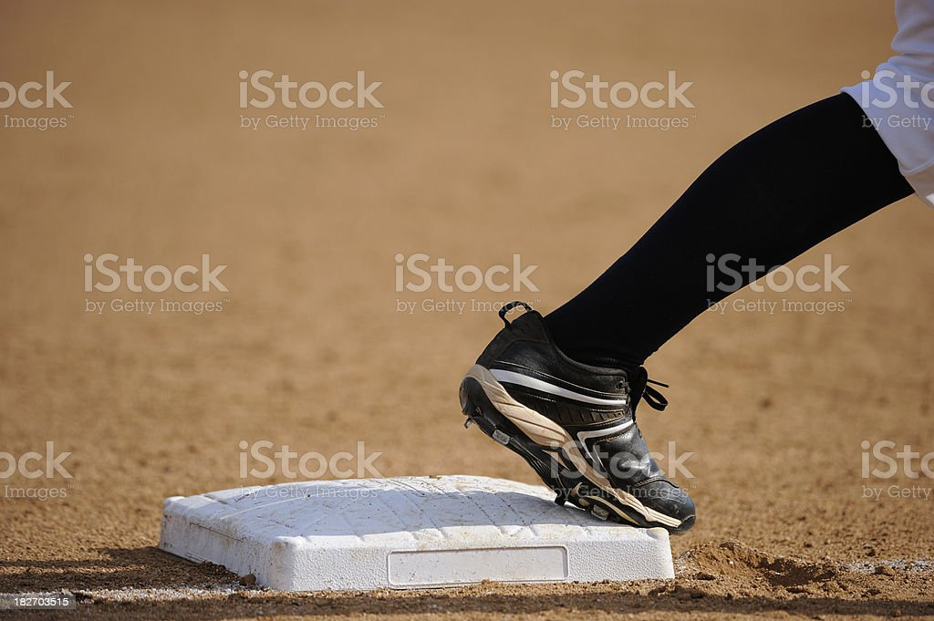 Softball Player at Base royalty-free stock photo