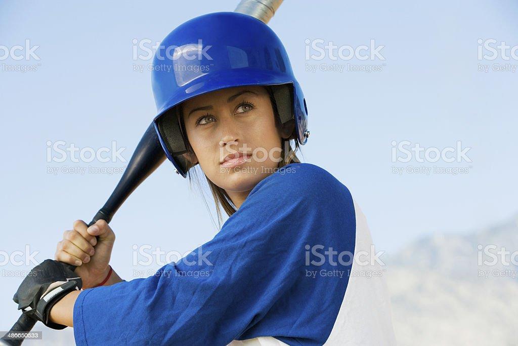 Softball Player at Bat stock photo