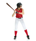 Softball player batting